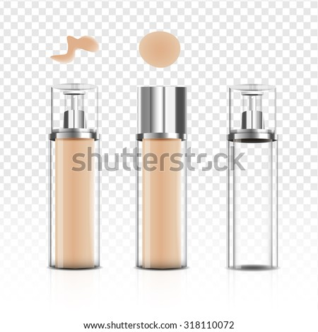 Makeup foundation bottle glass cream beauty package, vector