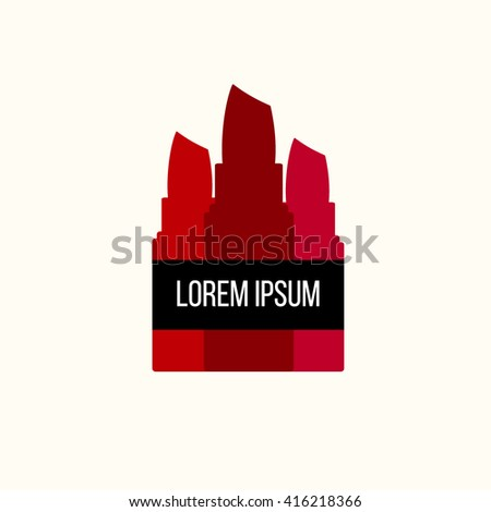 Makeup logo. Business identity element for make-up artist, beauty salon, cosmetic company, beauty products store, shop. Vector illustration isolated on white background, in modern flat style - stock vector