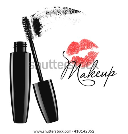 Makeup mascara tube, brush and stain isolated over white background. Cosmetic product design vector illustration