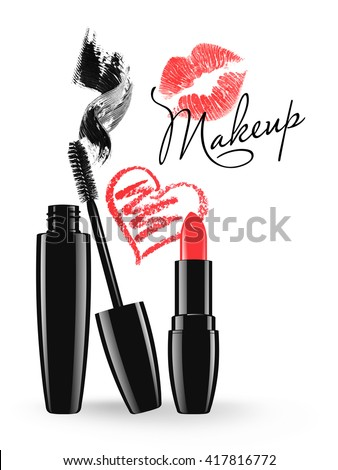 Makeup mascara tube, brush and stain, red lipstick and doodle heart isolated over white background. Cosmetic product design vector illustration