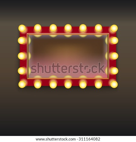 Makeup mirror with lamps and reflection, isolated on white background - stock vector