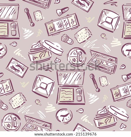 Makeup products. Cosmetics. Seamless Hand drawn Vector background.