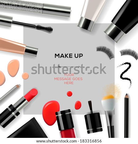 Makeup template with collection of make up cosmetics and accessories, vector illustration.  - stock vector