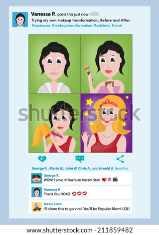 Makeup Transformation Posted.  Viral Meme in Social Network. Vector EPS10 - stock vector