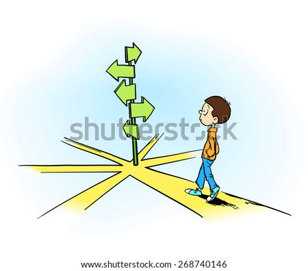 Making a decision - A young boy thinking to choose his way in front of different directions  - stock vector