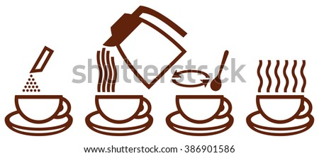 making instant coffee icons (make instant coffee icons, coffee preparation, icon set for process of brewing coffee) - stock vector