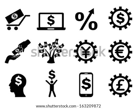 making money icons set - stock vector