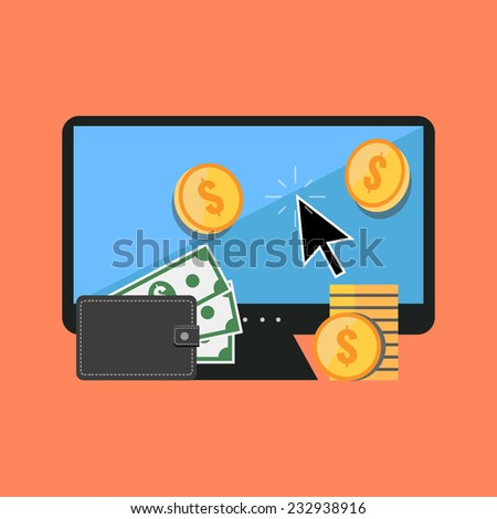Making money online concept. Flat design stylish. Isolated on color background - stock vector