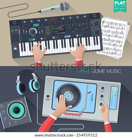 Making music illustration workspace, workplace concept in flat design style. Web banners and promotional materials. Music, sound production, technology icons. - stock vector