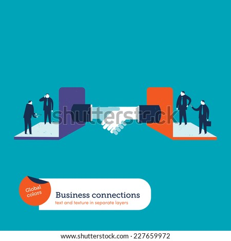 Making partnership with computer. Vector illustration Eps10 file. Global colors. Text and Texture in separate layers. - stock vector