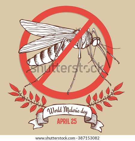 Malaria day poster in vintage style, vector - stock vector