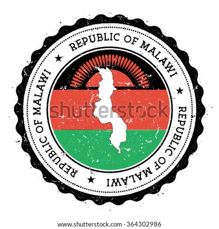 Malawi map and flag in vintage rubber stamp of country colours. Grungy travel stamp with map and flag of Malawi, vector illustration - stock vector