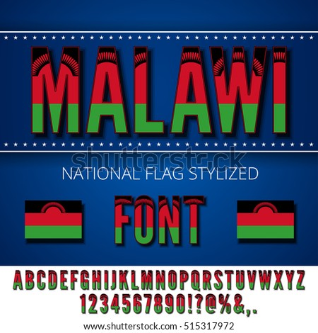 Malawi national flag flat stylized font. Alphabet and Numbers in Vector Set
