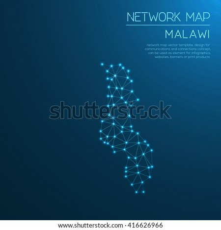 Malawi network map. Abstract polygonal Malawi network map design with glowing dots and lines. Map of Malawi networks. Vector illustration. - stock vector