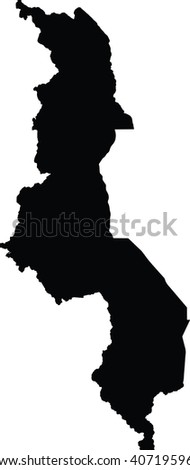 Malawi vector map isolated on white background. High detailed silhouette illustration.