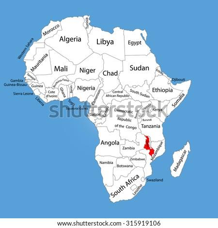 lake malawi on africa map