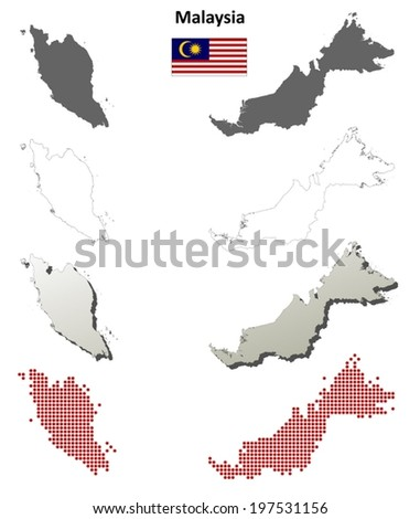 Malaysia blank detailed outline map set - vector version - stock vector