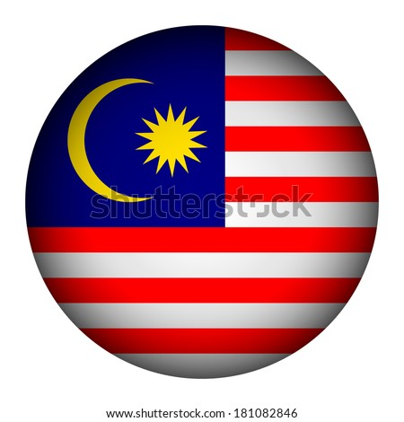 Malaysia flag button on a white background. Vector illustration.