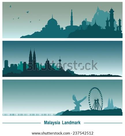 Malaysia landmark banner, vector Illustration. - stock vector
