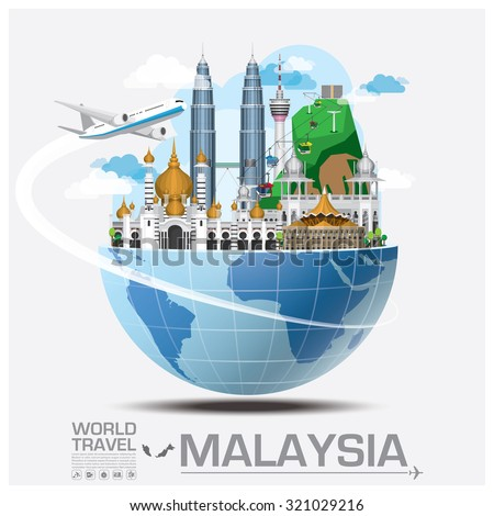Malaysia Landmark Global Travel And Journey Infographic Vector Design Template - stock vector