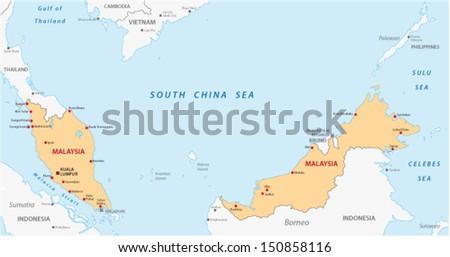 malaysia map - stock vector