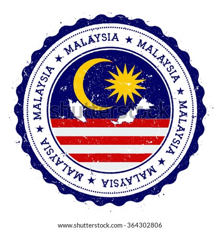Malaysia map and flag in vintage rubber stamp of country colours. Grungy travel stamp with map and flag of Malaysia, vector illustration - stock vector