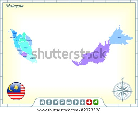 Malaysia Map with Flag Buttons and Assistance & Activates Icons Original Illustration - stock vector