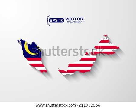 Malaysia map with shadow effect - stock vector