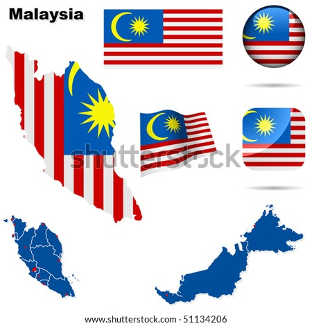 Malaysia vector set. Detailed country shape with region borders, flags and icons isolated on white background. - stock vector
