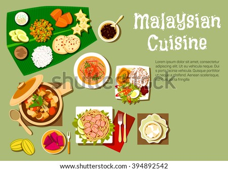 Malaysian Cuisine With Nasi Lemak Rice And Prawn Noodle Tofu Noodle With Curry Pork
