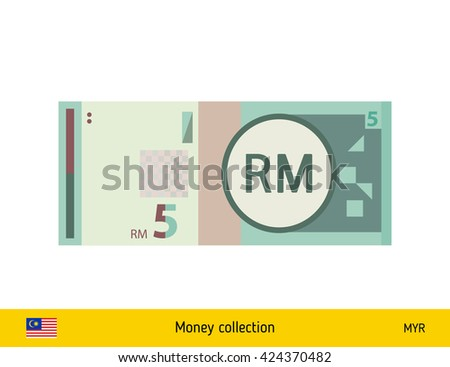 Malaysian ringgit. Malaysian ringgit banknote - stock vector
