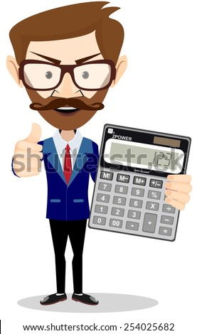 Male Accountant with a calculator, vector illustration - stock vector