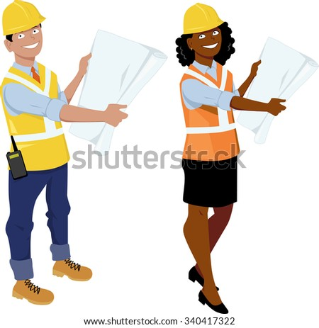 Male and female architect or engineer characters, wearing hard hats and reflective vests, showing blueprints, EPS 8 vector illustration, no transparencies - stock vector
