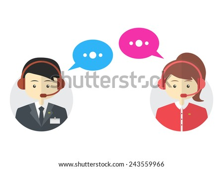Male and female call center avatar icons.  Man and woman wearing headsets with colorful speech bubbles conceptual of client services and communication. Vector - stock vector