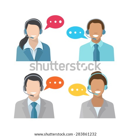 Male and female call center avatar icons with a man and woman wearing headsets  concepts of client services and communication - stock vector