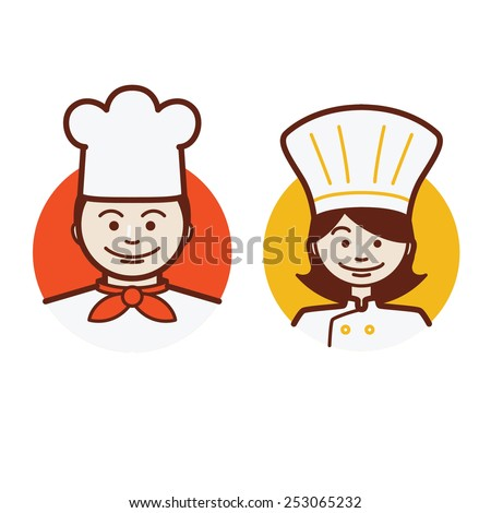 male and female chef - stock vector
