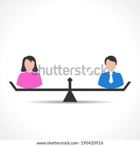 male and female comparison or equality concept vector - stock vector