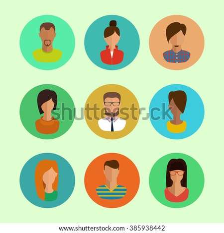 male and female faces avatars. flat style vector icons set