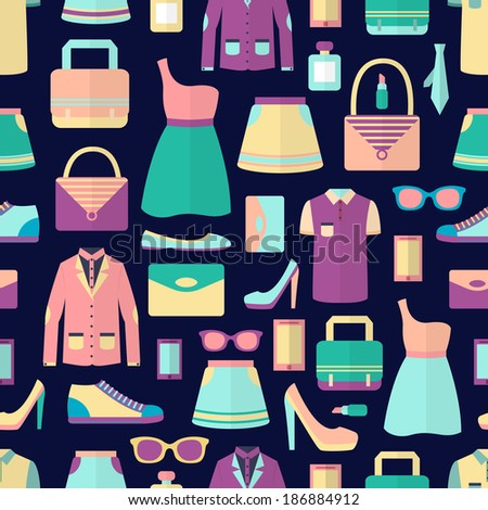 Male and female fashion stylish casual shopping accessory seamless pattern vector illustration - stock vector