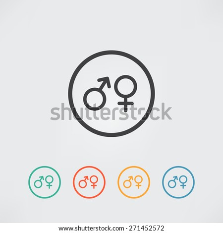 Male and female flat sex symbol - vector icon - stock vector