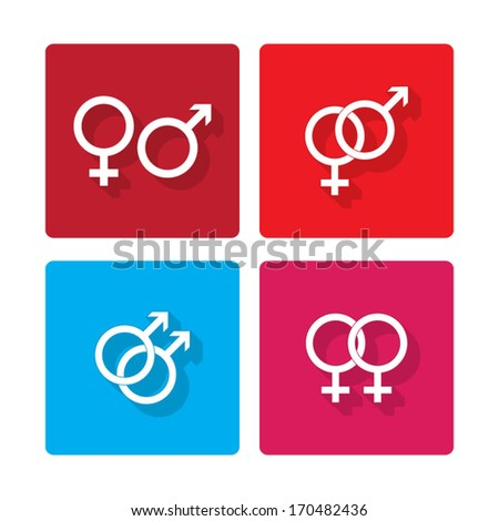 Male and female flat symbols - vector - stock vector