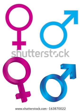 Male and Female Gender Symbols Isolated on White Background Vector Illustration