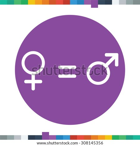 Male and female gender symbols with equality between them symbolizing the equality between genders. - stock vector
