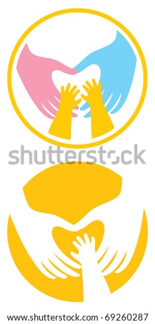 Male and female hands have created a heart shape. Child's hands touch the heart. Symbol.