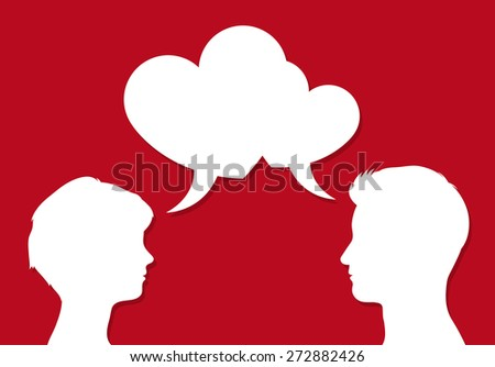 Male and female heads facing each other with overlapping heart shaped speech bubbles symbolic of romantic communication of people in love, on red, vector illustration - stock vector