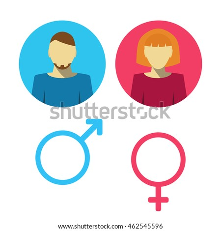 Male and female icon set. Man and woman user avatar. Vector flat illustration.