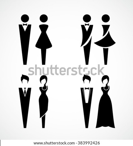 Male and female icon set-Vector Illustration - stock vector