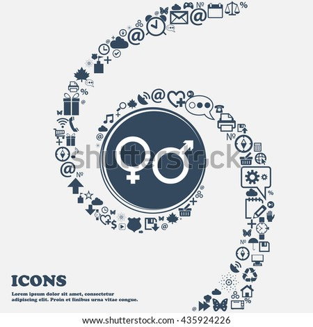 male and female icon sign in the center. Around the many beautiful symbols twisted in a spiral. You can use each separately for your design. Vector illustration - stock vector