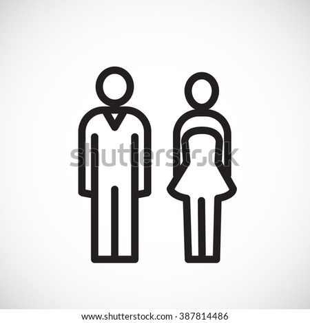 Male and female icon thin line for web and mobile, modern minimalistic flat design. Icon Isolated on White Background - stock vector