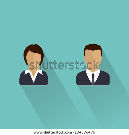 Male and female icons. Businessman and businesswomen user avatar.  Man and women. Flat vector illustration. - stock vector